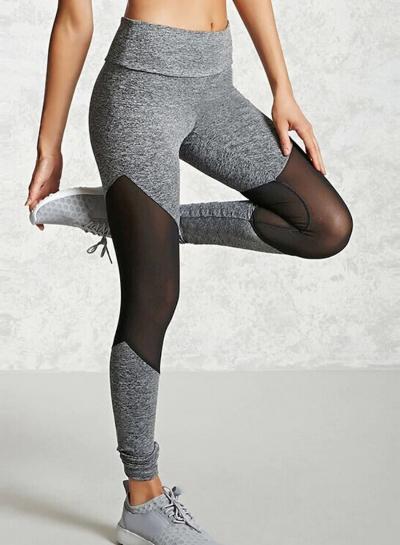 Casual Slim Mesh Panel Spicing High Waist Yoga Leggings