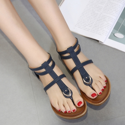 Fashion Summer Beach Thong Wedges Heel-covered Sandals With Zipper stylesimo.com