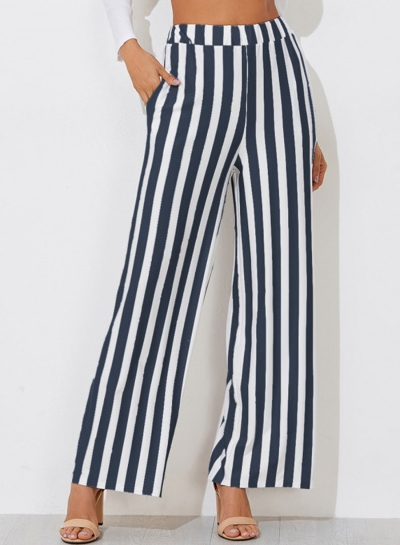 Casual Striped Straight Wide Leg Pants With Pockets