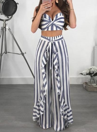 2 Piece Fashion Striped Spaghetti Strap Crop Top Ruffle Wide Leg Pants Set