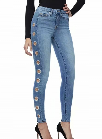 Casual Slim Hollow Out High Waist Zipper Fly Pencil Jeans With Pockets