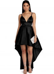 Fashion Solid Spaghetti Strap V Neck High Waist Hi-Lo Sleek Party Dress