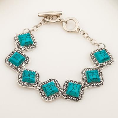 Fashion Vintage Turquoise Rhombus Alloy Bracelet