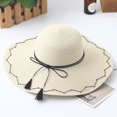 s' Fashionable Big Brim Straw Floppy Foldable Beach Hat With Bowknot