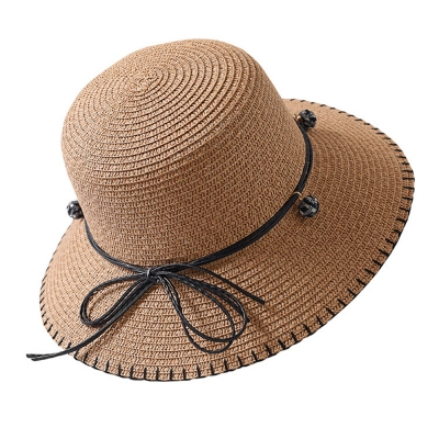 Summer Straw Hat Sunscreen Hat Holiday Beach Hat With Bowknot