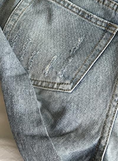 Casual High Waist Zipper Fly Roll-Up Trim Denim Shorts With Pockets stylesimo.com