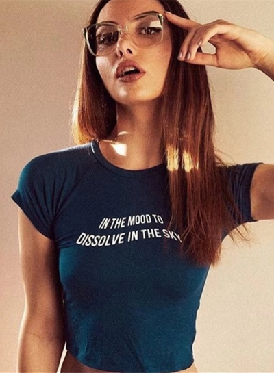 Summer Casual Slim Short Sleeve Round Neck Crop Top With Letters