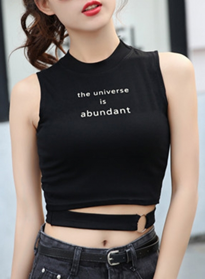 Summer Sexy Slim Splicing Sleeveless Round Neck Crop Top With Letters