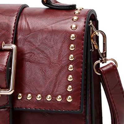 Vintage Leather Handbag Cross Body Shoulder Bag With Rivet stylesimo.com