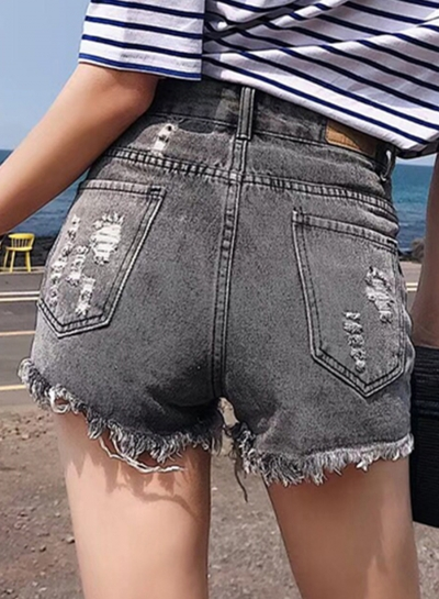 Retro Wash High Waisted Ripped Denim Shorts With Pockets