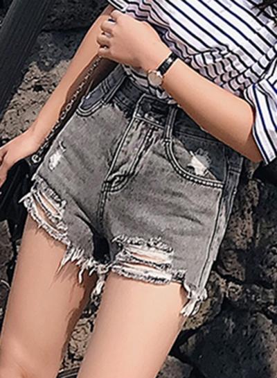 Retro Wash High Waisted Ripped Denim Shorts With Pockets stylesimo.com
