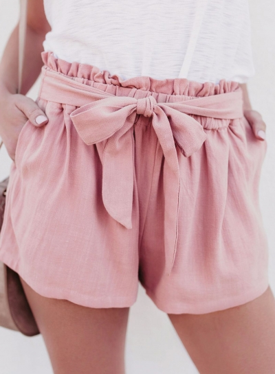 Summer Casual High Waist Lace-Up Wide Leg Loose Solid Shorts