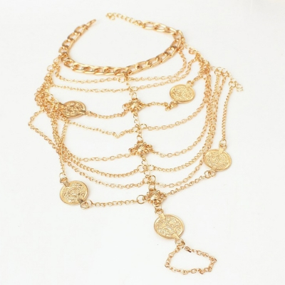 Fashion Boho Vintage Silver Plated Coin Tassel Anklets stylesimo.com