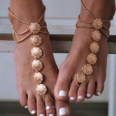 Fashion Vinatge Concise Alloy Carved Disk Tassel Anklets stylesimo.com