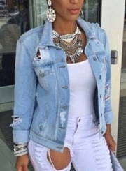 Casual Ripped Laper Collar Long Sleeve Button Down Denim Coat