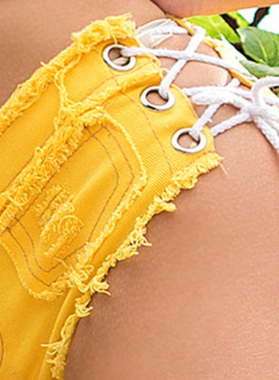 Fashion Sexy Retro Wash Low Waist Zipper Fly Side Lace-Up Denim Shorts stylesimo.com