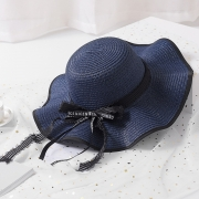 Fashion Casual Straw Floppy Foldable Beach Sunscreen Hat With Wave Ribbon