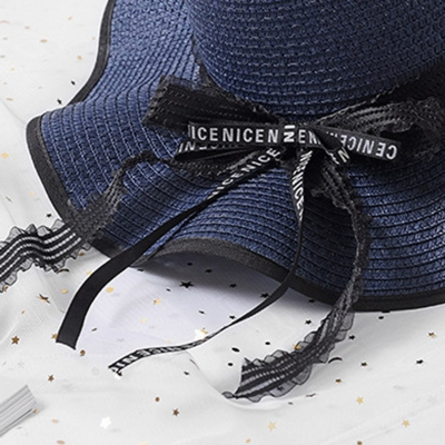 Fashion Casual Straw Floppy Foldable Beach Sunscreen Hat With Wave Ribbon stylesimo.com