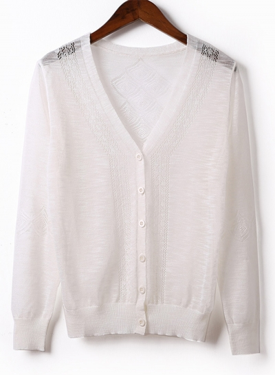 Casual V Neck Long Sleeve Hollow Out Loose Button Down Cardigan Sweater