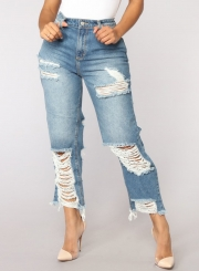 Casual Destroyed High Waist Straight Jeans With Pockets