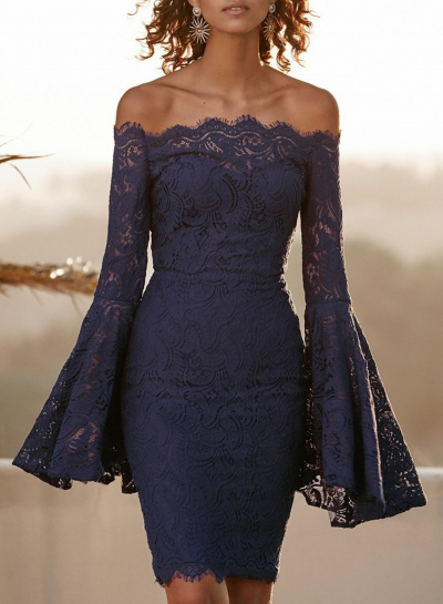 Sexy Off Shoulder Flare Sleeve Elastic Waist Lace Bodycon Cocktail Dress
