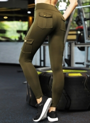 Casual High Waist Butt Lift Slim Solid Color Sports Yoga Pants