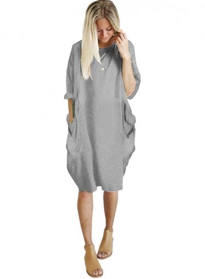 Solid Oversized Round Neck Long Sleeve Loose Pockets Dress STYLESIMO.com