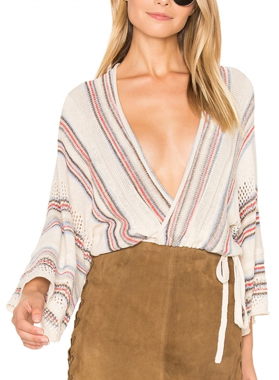 Womne's Striped V Neck Dolman Sleeve Hollow Out Loose Sweater
