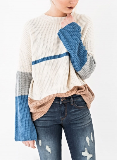 Colorful Long Sleeve Round Neck Loose Pullover Sweater