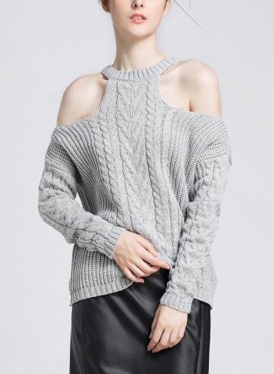 Off Shoulder Round Neck Long Sleeve Loose Solid Color Sweater