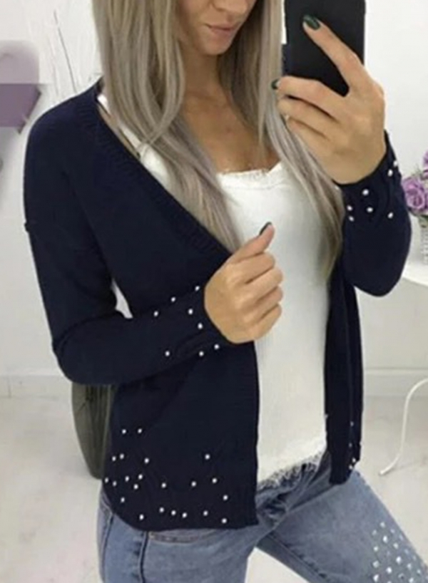 Soft Long Sleeve Open Front Black Cardigan With Beading