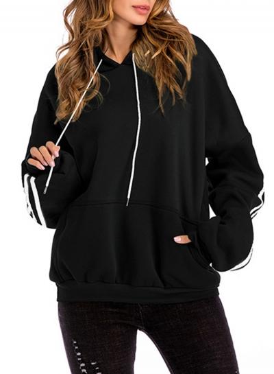 Hooded Long Sleeve Color Block Fleece Loose Pocket Hoodie