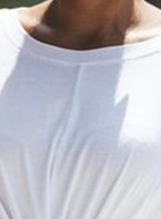 White Loose Pullover Tee For Women