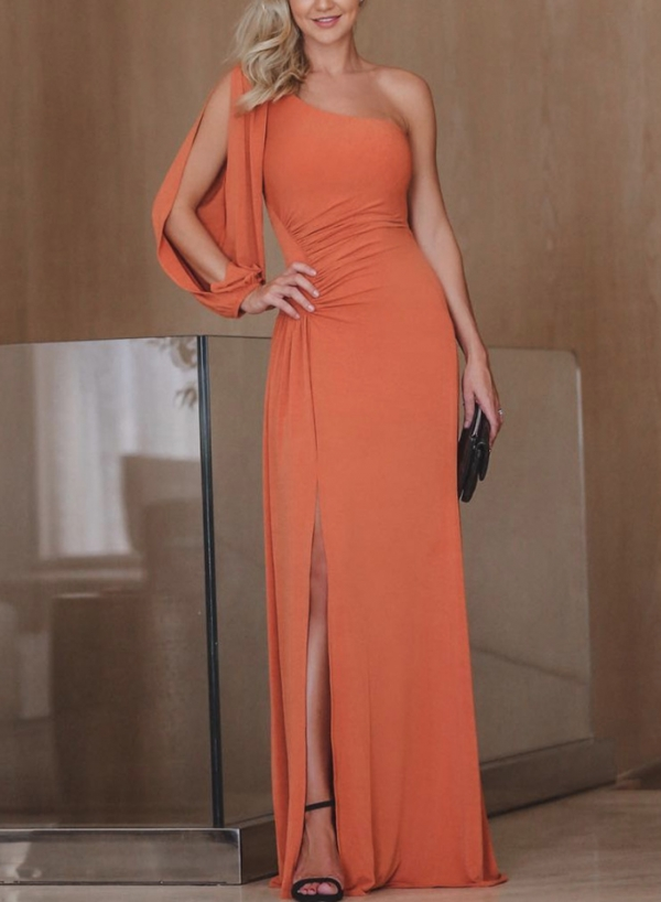 Orange One Shoulder Slit  Asymmetric Maxi Dress