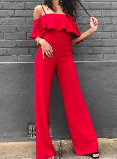 Red Spaghetti Strap High Waist Wide Leg Jumpsuit STYLESIMO.com