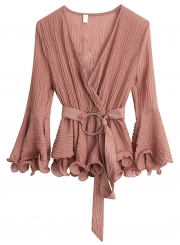 Chiffon Crossover Tummy Control Blouse With Belt