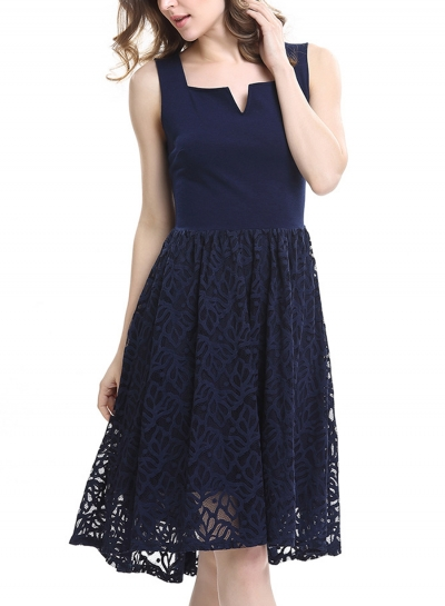 Navy Lace Stitched High Waist A-line Dress STYLESIMO.com