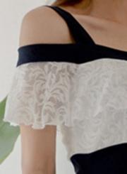 Sexy Off Shoulder V Neck Lace Ruffle Color Block Bodycon Dress