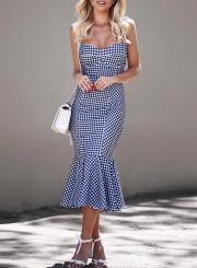 Chic Spaghetti Strap Sleeveless Backless Fishtail Plaid Dress
