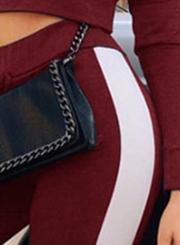 Burgundy Side Stylish Striped Active Crop Top Pencil Pants Set
