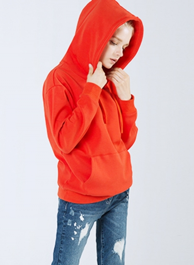 Red Casual Long Sleeve Loose Hoodie With Pockets