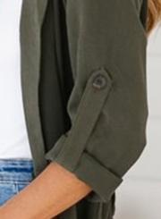 Green Thin Slit Coat Windbreaker