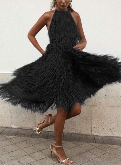 Black Cocktail Dress Sexy Backless Irregular Tassel Dress