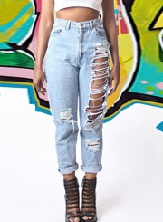 Faded Ripped High Waist Jeans With Pockets