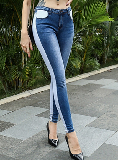 Contrast Color Faded Slim Fit Ankle Length Jeans