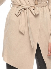 Khaki Open Front Turn -Down Collar Long Sleeve Waist Tie Loose Coat