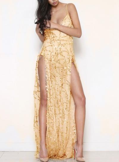 Sequin Spaghetti Strap V Neck Backless High Slit Cocktail Dress