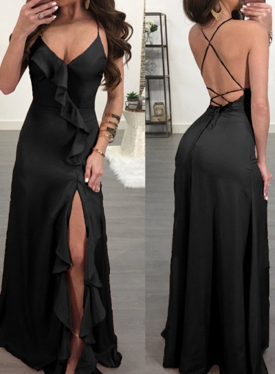 Black Spaghetti Strap Backless High Slit Maxi Cocktail Dress