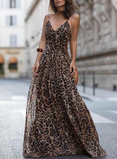 Leopard Print Spaghetti Strap Maxi Party Dress