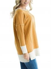 Yellow Round Neck Long Sleeve Color Block Loose Long Sweatshirt
